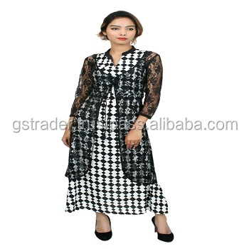 Fashion black and white check Woman dress Classical net Dress women long length dress