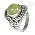 Shiny prehnite gemstone ring handmade india 925 sterling silver rings jewelry exporters