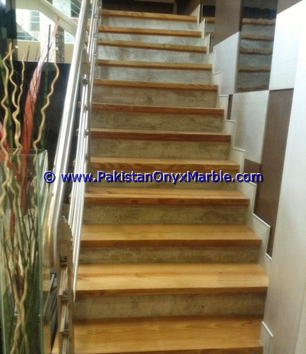MARBLE STAIRS STEPS RISERS TEAKWOOD BURMATEAK,BEIGE,BLACK AND GOLD MODERN DESIGN HOME OFFICE DECOR