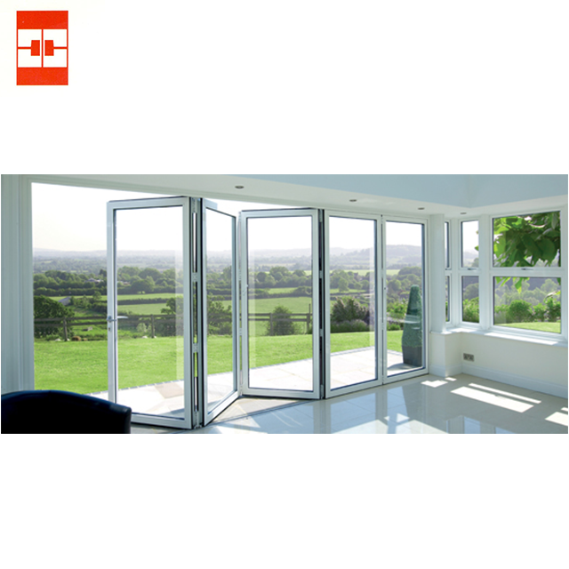 Modern High Quality Aluminium Folding Swing Door c/w 5 mm or 6 mm clear glass