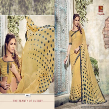 wholesale plain fancy georgette pure chiffon sarees with border cotton sarees
