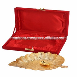 Indian Handcrafted Brass Gift Item Decorative Gold Plated Brass Leaf Plate With Spoon Indian Handmade Traditional Diwali Gift
