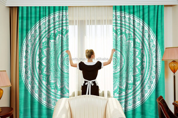 Indian Latest Green Ombre Mandala Curtain set Cotton Boho Drapes Window Decor Curtain Set
