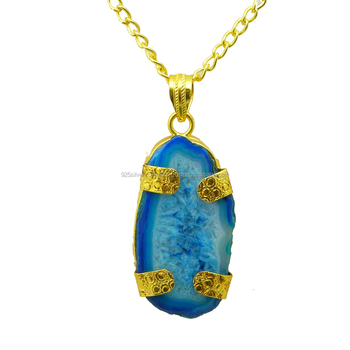 Gold Filled Solar Druzy Gemstone Necklace Festival Gift Ideas Jewelry Pendant