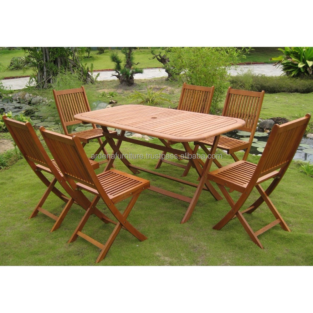 Cheap portable folding dining table and chair set for picnic or beer pong table from solid teak wood indonesia furniture