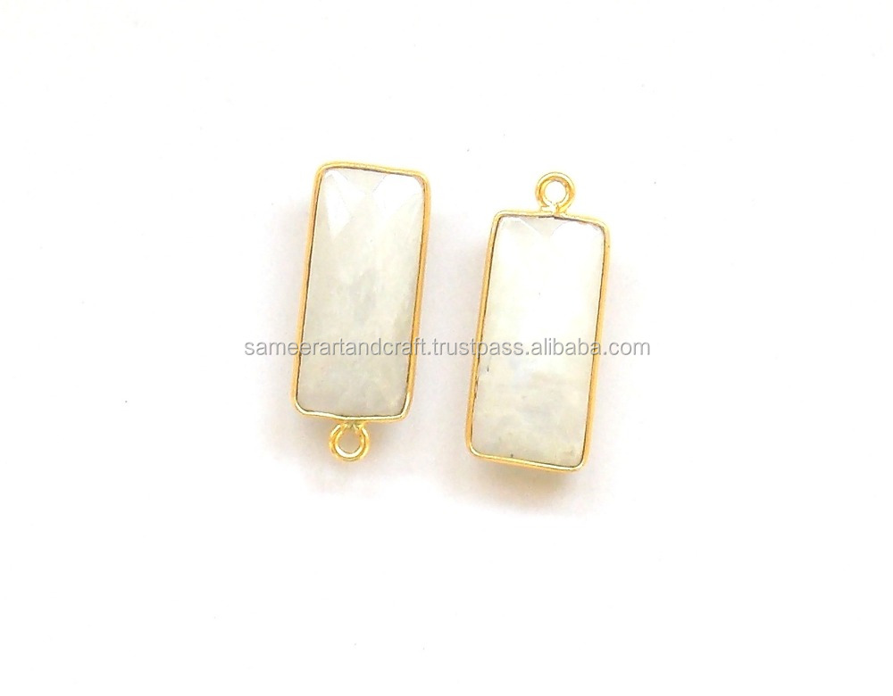Rainbow Moonstone 24 k Gold Plated Double Bail 10 X 14 mm Rectangle Bezel Connector