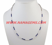 semi multi necklace 2-3 mm Rondelle Faceted Beaded Crystal And Lapis Loose Beaded Ready Choker Necklace