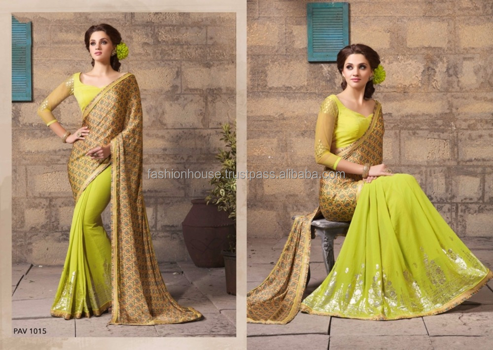 saree blouse design 2017 latest Designer Georgette Fabric Saree with Blouse wholesale Retail Export