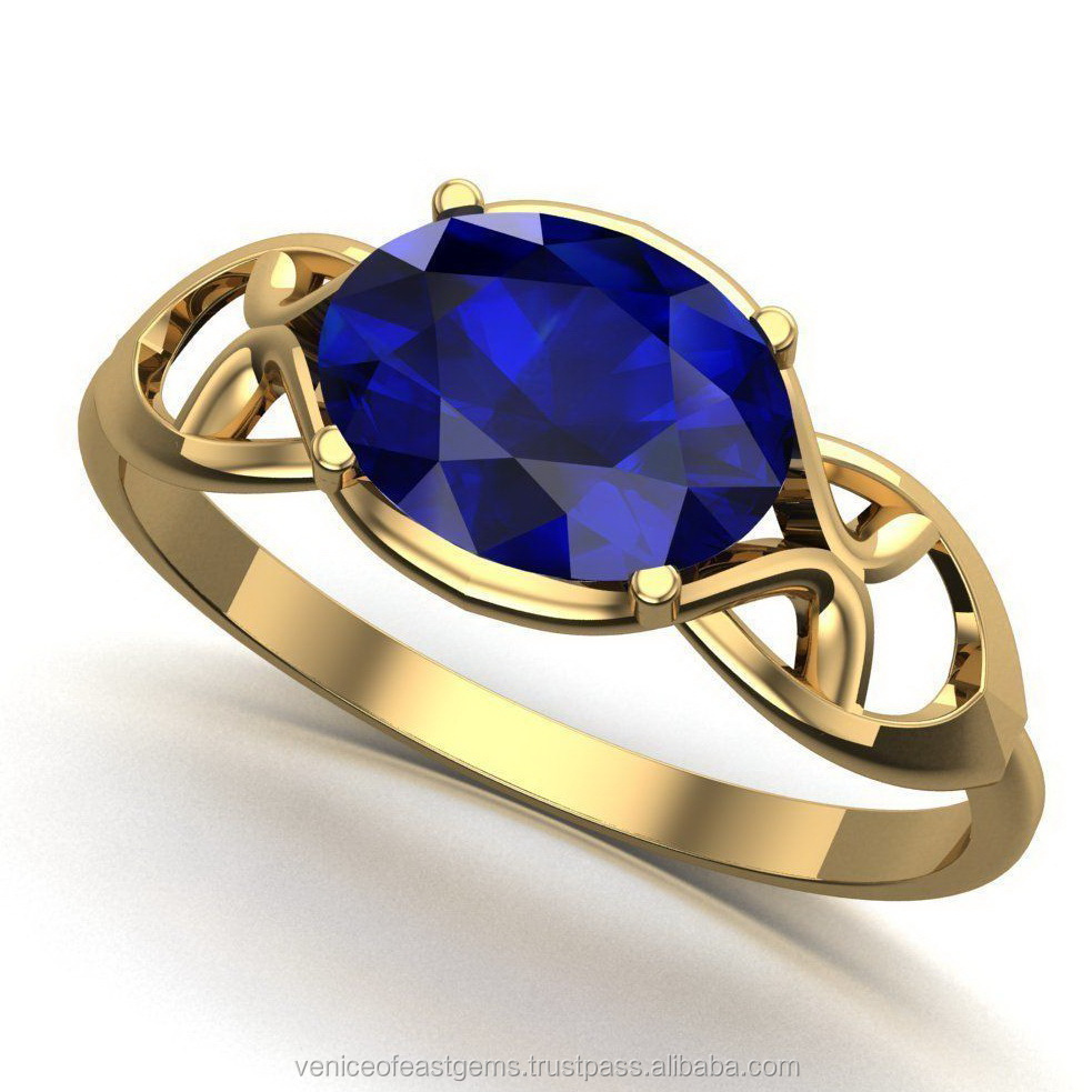 18K Yellow Gold or white gold with Natural Beautiful Blue Sapphire Engagement Ring (Certification is available if required)