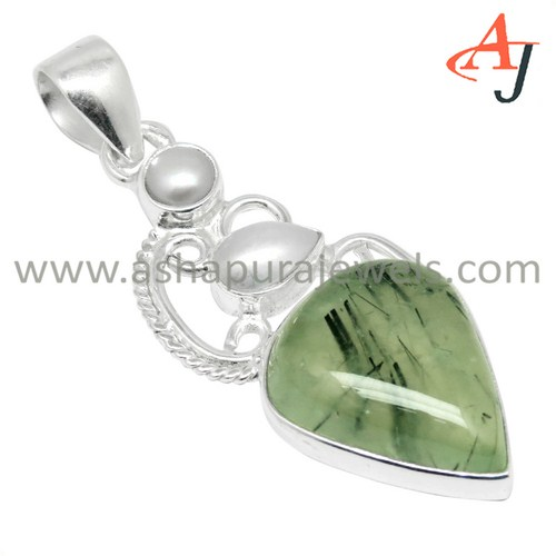 Express Yourself With Prehnite_Pearl Gemstone 925 Sterling Silver Pendant, Fashion Silver Jewelry, Indian Silver Jewelry