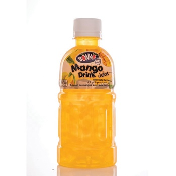 Fruit Drink Juice Mango with Nata De Coco 320ml Plastic bottle BONKO cube brand