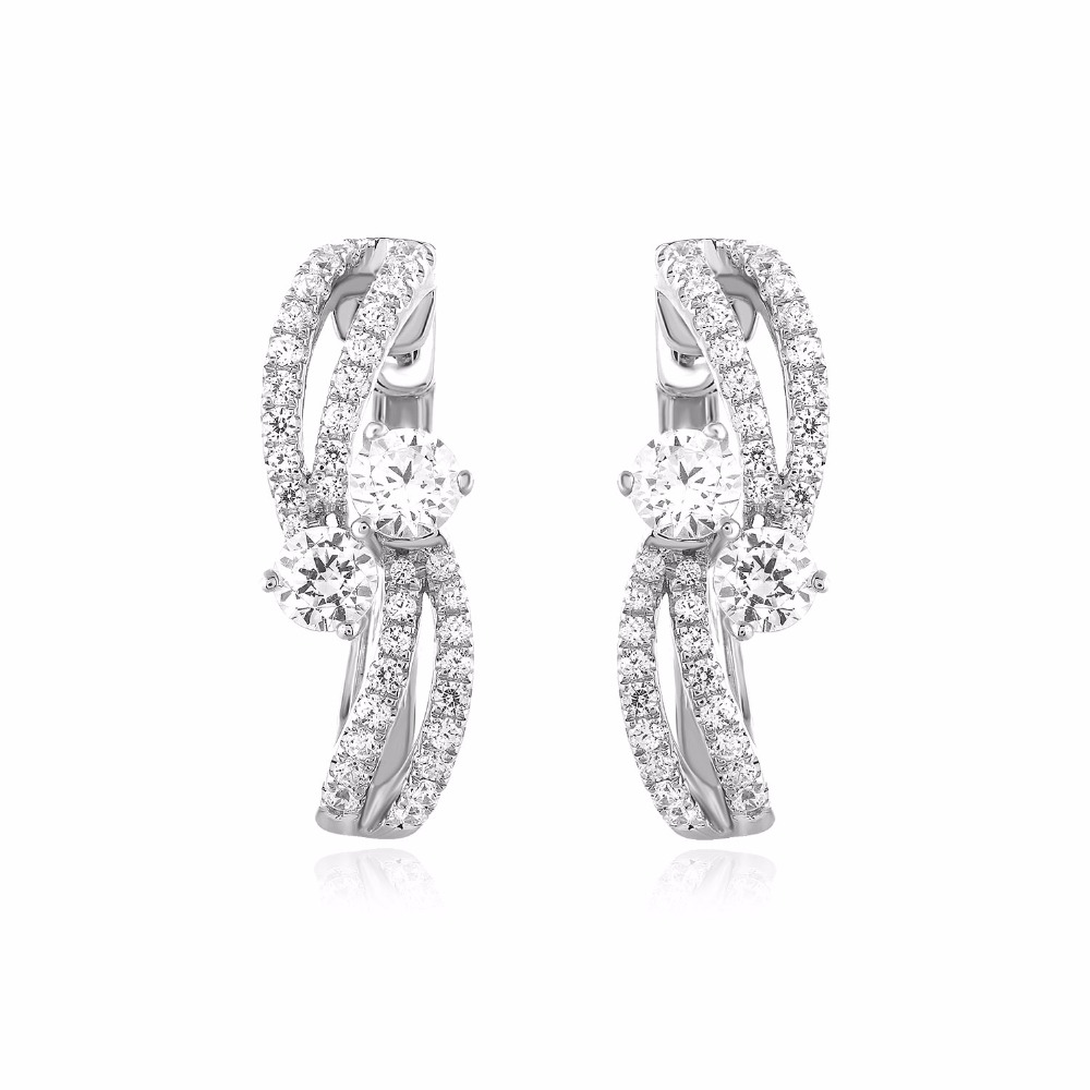 Certified 1.40 Ct Forever Us Two Stone Genuine Natural Diamond Hoop Women's Earrings .925 Solid Sterling Silver NEW