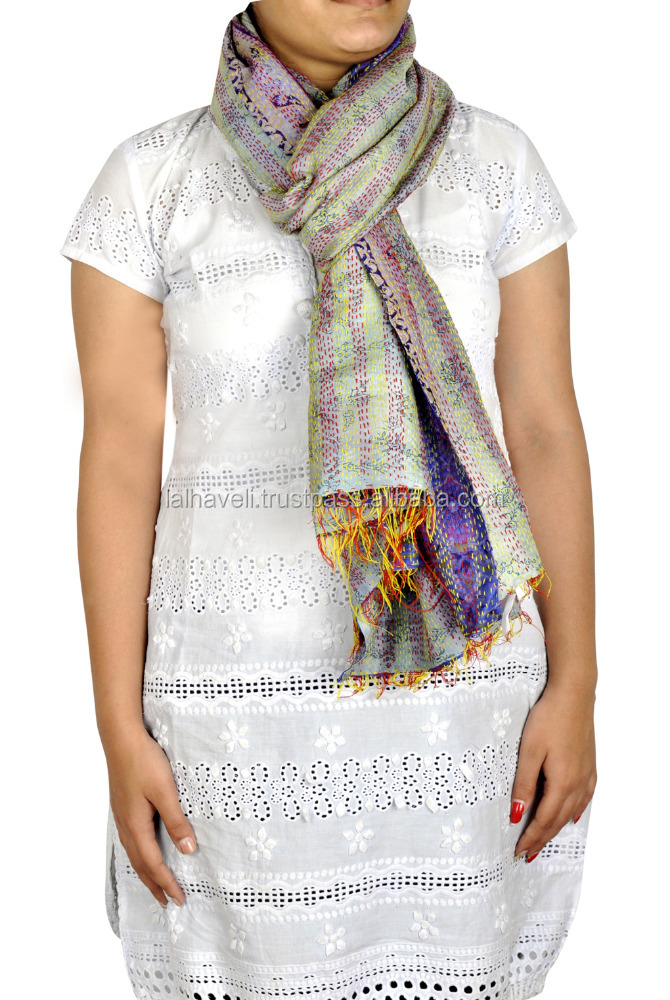 Floral Kantha Silk Reversible Scarf Neck Wrap Stole Women's Shawls Indian Dupatta