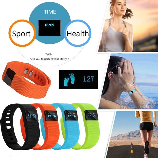 TW64 Smart Fitness Pedometer Bluetooth Bracelet Wristband Watch Activity Tracker *878*