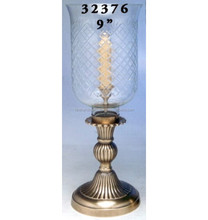 Metal Hurricane Lamp With Glass Chimney