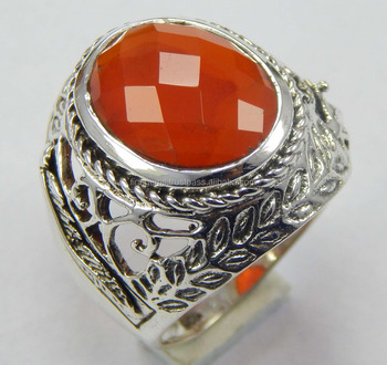 925 sterling silver ring size 7.75 US with faceted carnelian gemstone
