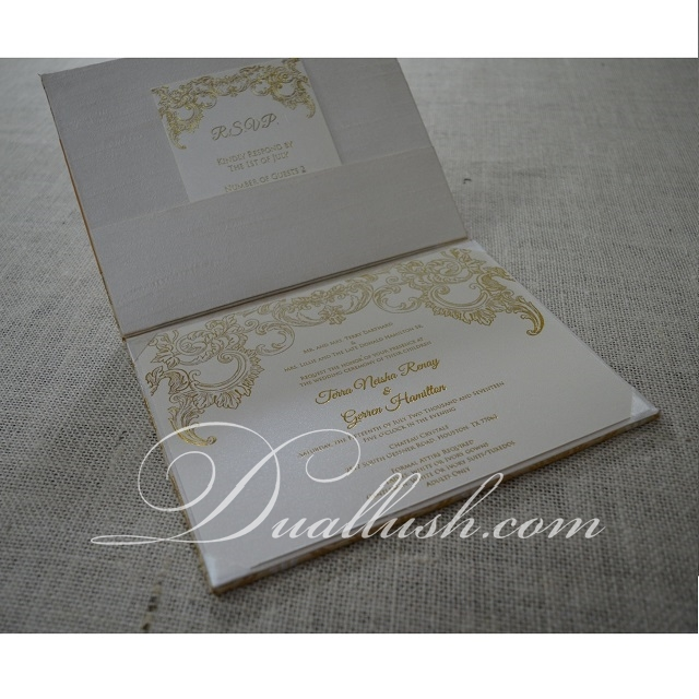 2018 Custom Luxury Wedding Box Brocade Folio Wedding Invitation Card with Ribbon