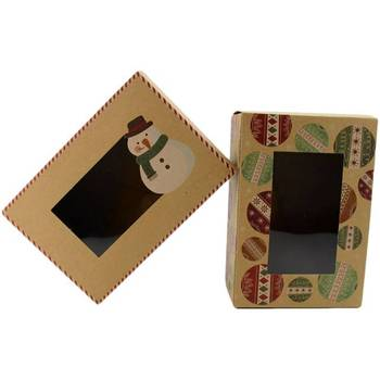 Christmas Gift Packaging Box With Window, Custom Printing Kraft Paper Gift Packaging Box