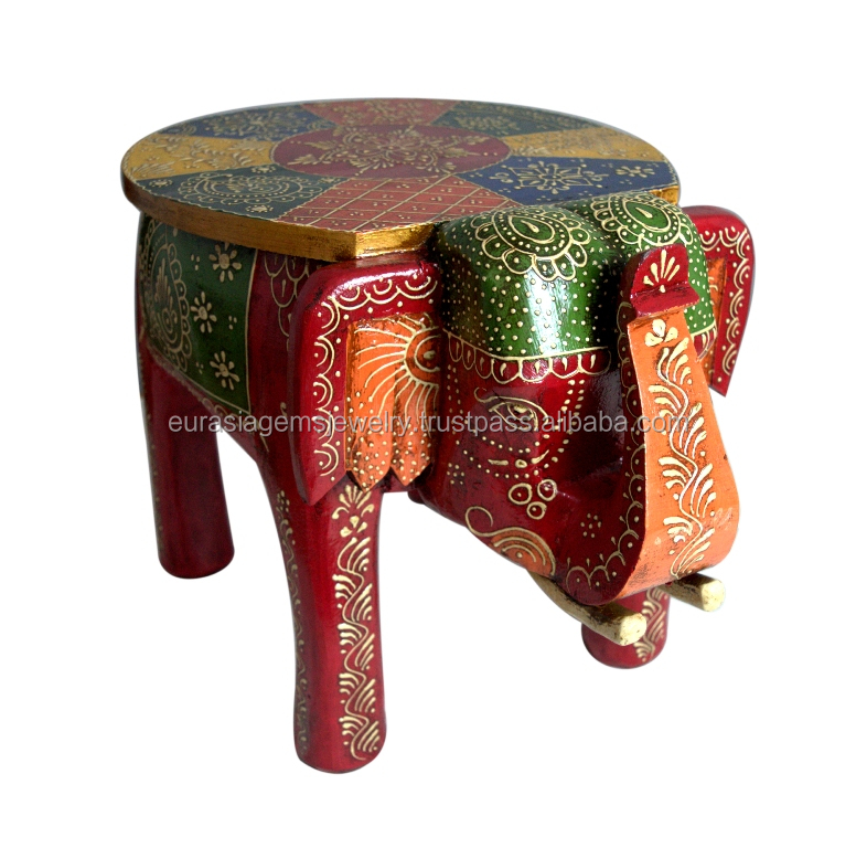 "Wholesale Handmade Good Colored Home Decorative Christmas New/Year Gift Item 8"" Stool Elephant"