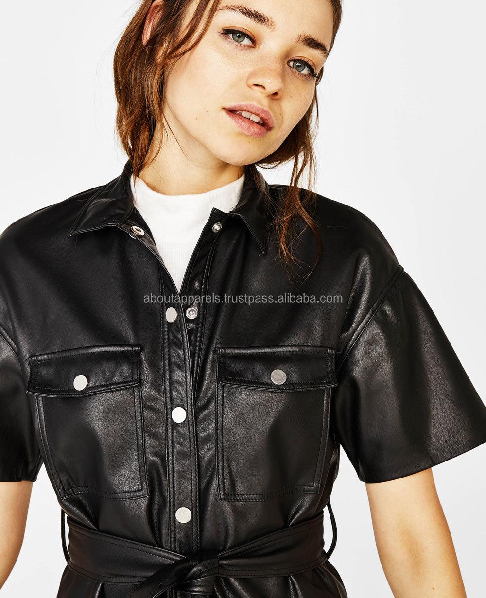 2018 new design fashion custom wholesale slip summer midi black sleeveless dresses, New Black Faux Leather Shirt Dress,