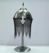Handmade Indo Persian Ottoman Rajput Islamic Soldier Helmet Armour with Stand