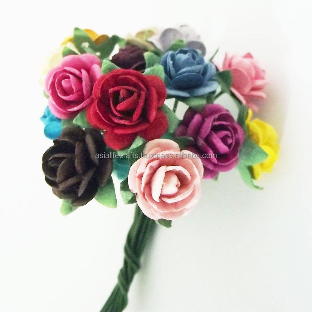 12 Mm Handmade Mulberry Paper Flowers Rose Paper Flower For