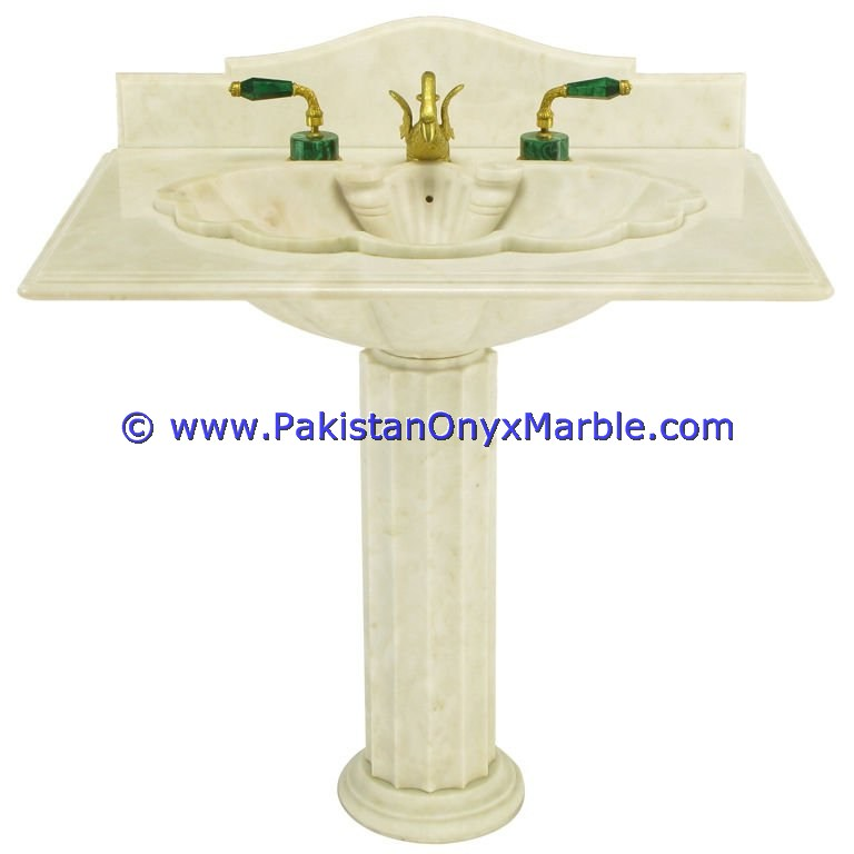CHEAP PRICE MARBLE PEDESTALS SINKS BASINS FREE STANDING ZIARAT WHITE CARRARA
