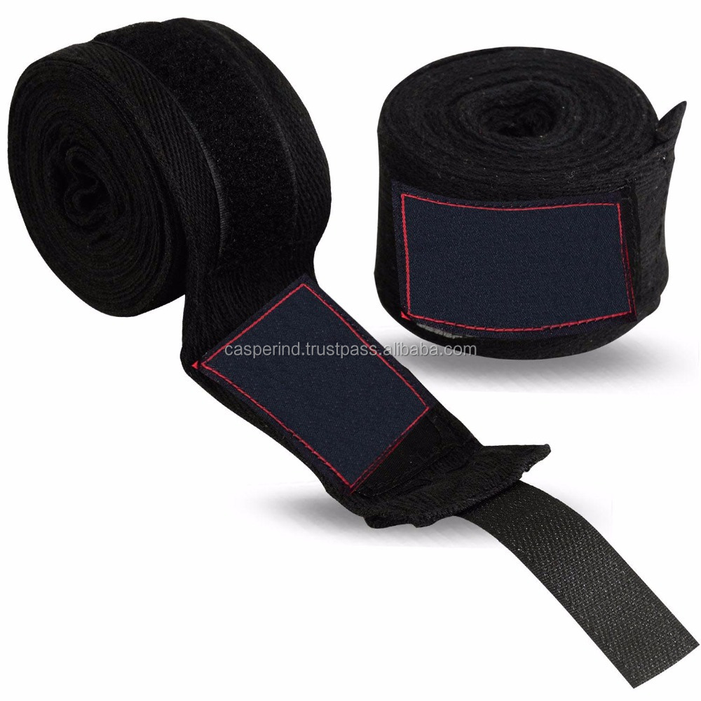 Black custom Boxing hand wraps with your brand name OEM service customized boxing and MMA hand wraps