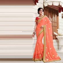 Peach Chiffon Silk Saree / Saree Online Shopping / Saree Shop Online