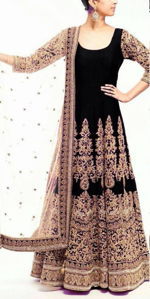 Black Bikaw Fashion Heavy Zari embroidery work with semi stich Gown