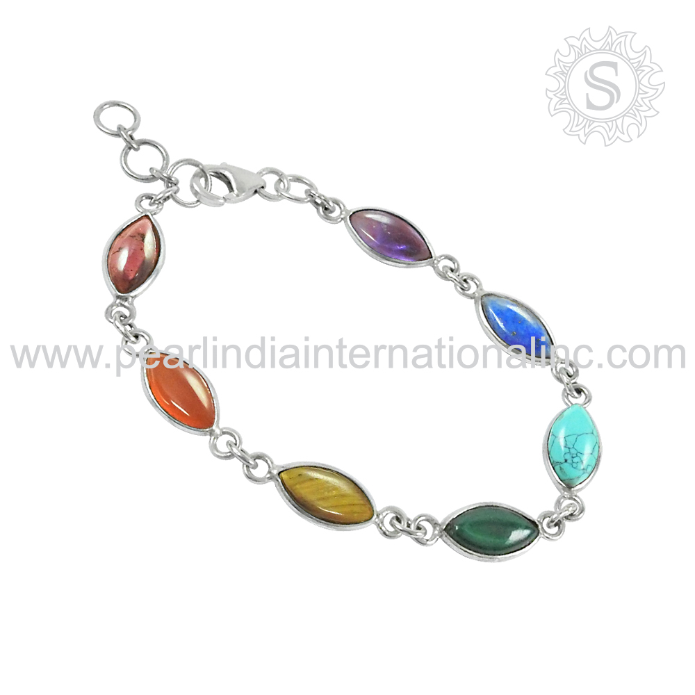 Colour full gemstone natural 925 sterling silver bracelet multi gemstone silver jewelry handmade craft silver bracelet 925