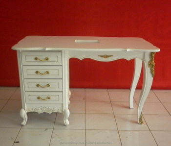 Indonesia Commercial Furniture - White Baroque Salon Furniture Nail Table 4 Drawers