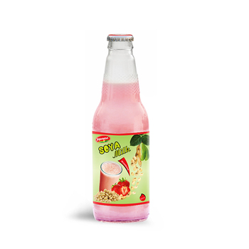 Wholesale Natural Soya milk Strawberry flavour Suppliers in Glass bottle 300ml