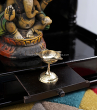 Indian Decorative Engraved Brass Diya Stand Lamp Home Decoration Temple Utility Piece