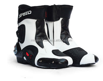 Black & White Professional Motorcycle Off road Racing Sport Leather Medium Boot Shoes Motorbike Sport Leather Motorbike Boots