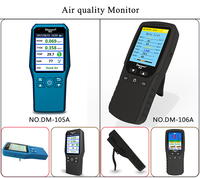 high precision air quality monitor Test PM2.5/1.0/10,HCHO ,TVOC,Temp Humidity