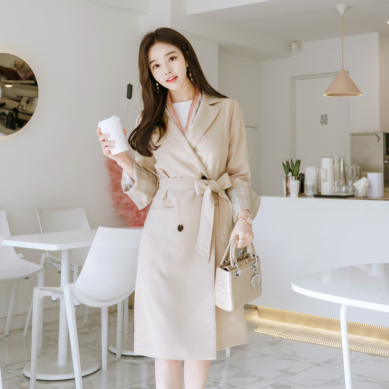 jk727 Check Cuffs Trench Coat