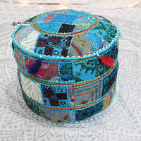 Antique Bohemian Pouf Patchwork Sari Bean Bag Indian Seating Cushion Vintage Ottoman