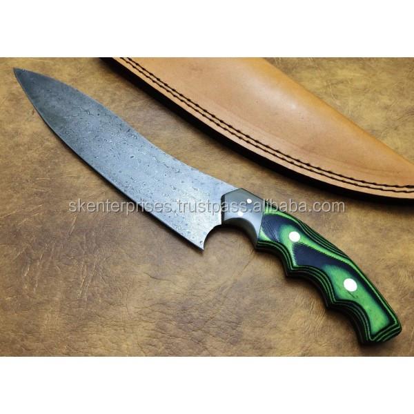 Damascus Kitchen Chef's Knife Custom Handmade Damascus Steel Kitchen Chef's Knife With Micaarta Wood Handle Free Leather SK-438