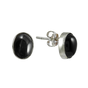Black star gemstone stud earring handmade 925 sterling silver jewelry earrings wholesale