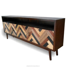 Scandinavian Furniture - Mid Century Furniture Modern Wooden TV Stand With Ebony Veneer Motif