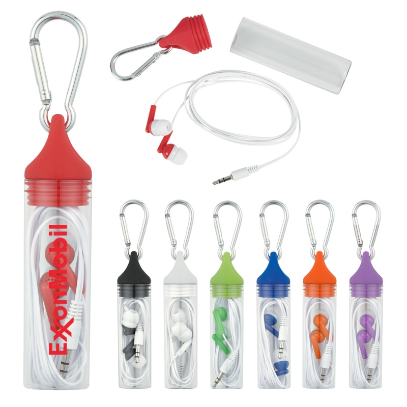Earbuds In Case With Carabiner - has protective plastic travel case, silicone cap with carabineer and comes with your logo