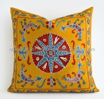 Indian Suzani Cushion Cover Handmade Sofa Throw Cushion Cover Home Decorative