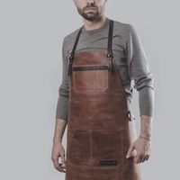 Top selling and high Quality Vintage Leather Cooking Apron Brown Cognac Leather BBQ Apron for Men & Women