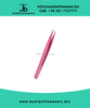 Eyelash Extension Tweezers, Semi Curved 45 Degree Pink Color Finish