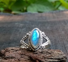 Labradortie Sterling Silver Ring India silver stone ring women silver stone ring