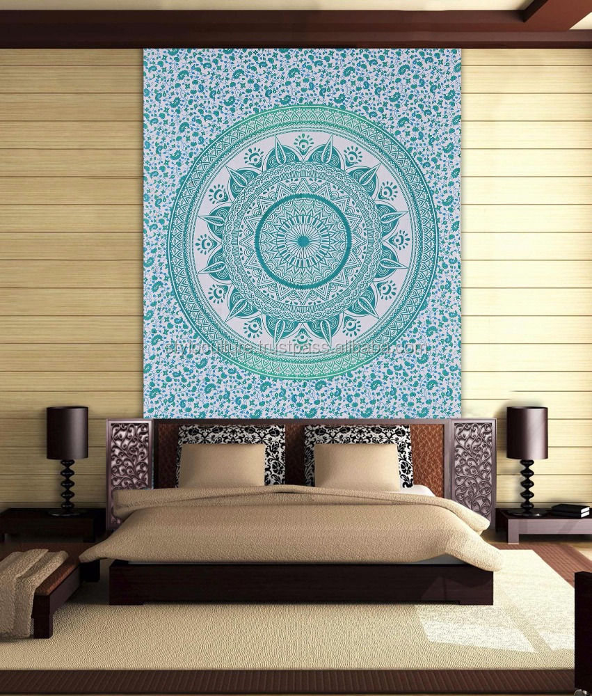 2017 Boho Twin Mandala Tapestry Fabric Manufacturer 100% Cotton Bohemian Hippie Dorm Floral Wall Hanging Mandala Wall Tapestry