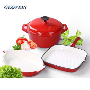 Home&garden kitchen enameled 3 pcs cast iron frying pan and pot