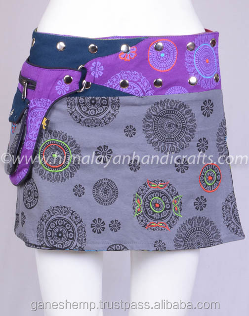 Polka Dot Exotic Print In Blue Gray Shade Cotton Fabric Gypsy Wrap Around Skirt With Bag Belt HHCS 139 B