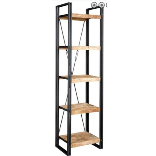 industrial folding mango wood 5 shelves wooden bookcase